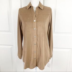 NWT Foxcroft NYC Faith Faux Suede Button Down Top